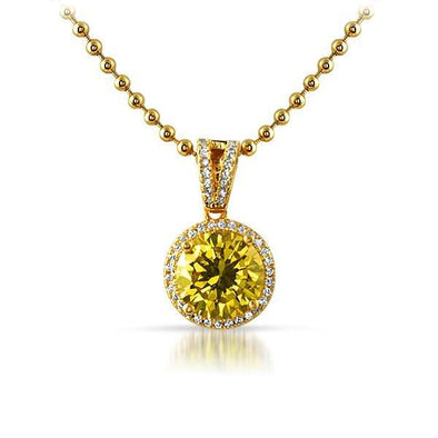 .925 Silver M Round Yellow Gem Gold Bling Pendant