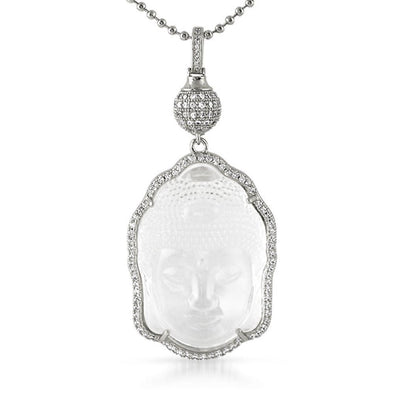 Buddha Carved Crystal Pendant Rhodium w/ Disco Ball