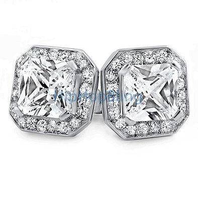 Iced Out Princess Rhodium CZ Bling Bling Earrings