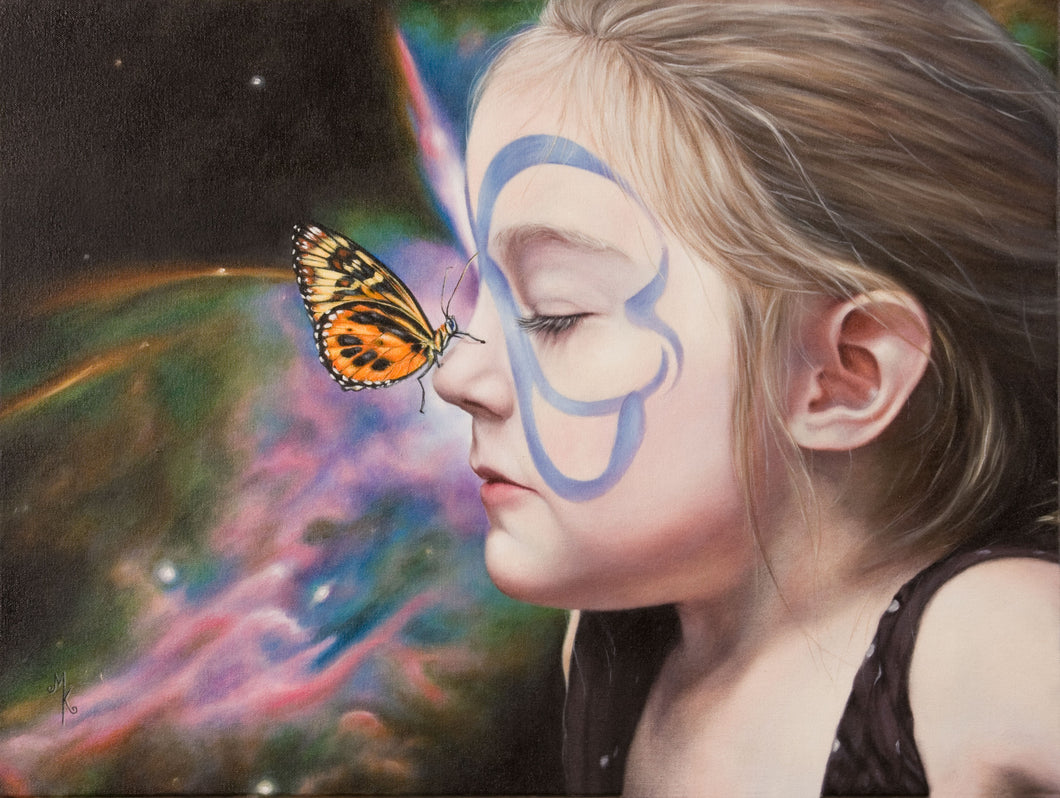 Butterfly Grace. Framed Canvas Print.