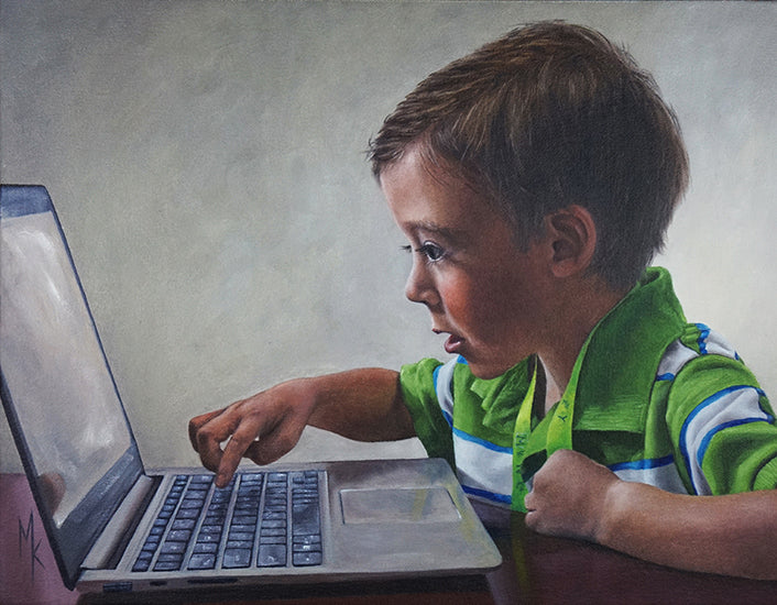 Tomorrow's Computer Programmer. Original Painting