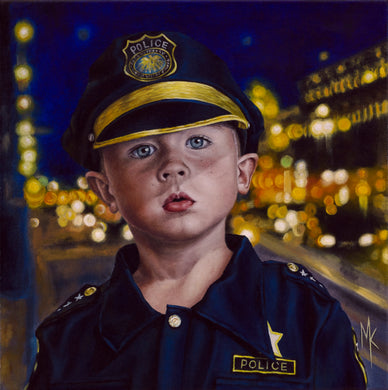 Tomorrow's Police Officer. Original Oil Painting.