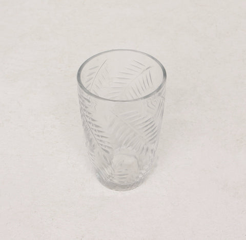 Clear Glass Fern Etched Tumbler