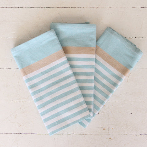 Sky Blue and Taupe Stripe Tea Towel