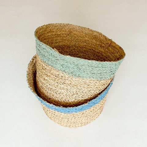Woven Basket with Coloured Top