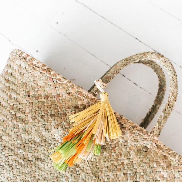 Natural Basket with Colourful Tassel
