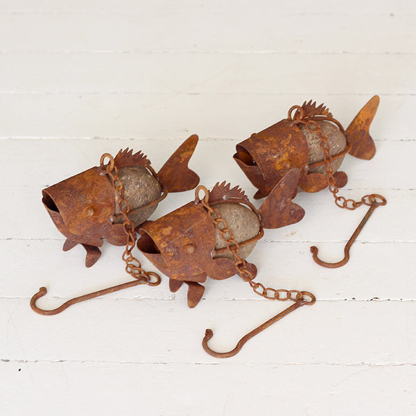 Metal and Stone Fish on Hook
