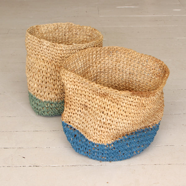 Coloured Woven Basket with Roll Edge