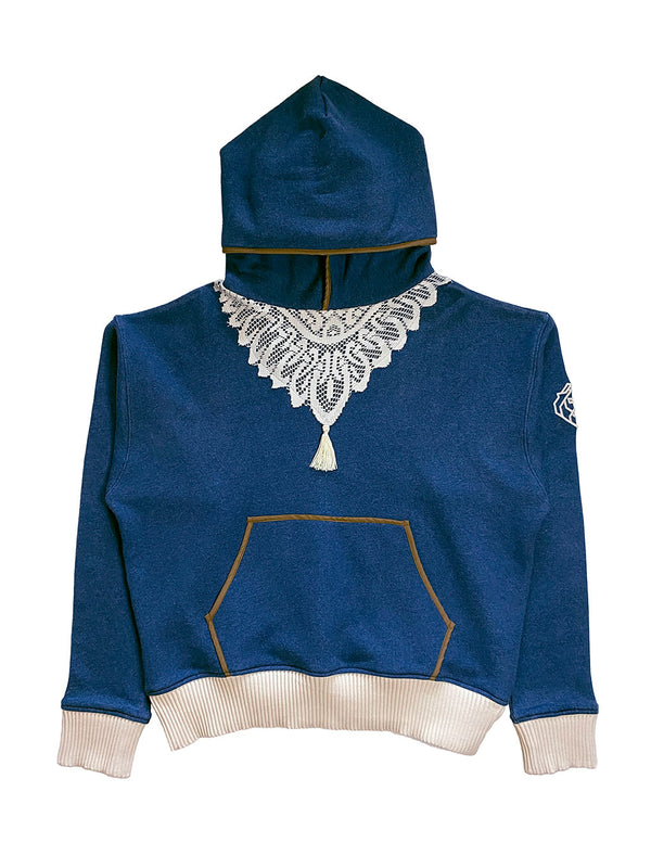 Front of Denim Blue Hooded Sweatshirt with contrast Doily knit on chest and off white rib cuffs and waist band. Magnus Alpha Lion embroidery on left shoulder.