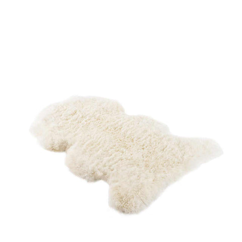 Long Sheepskin Cushion Black Small Square