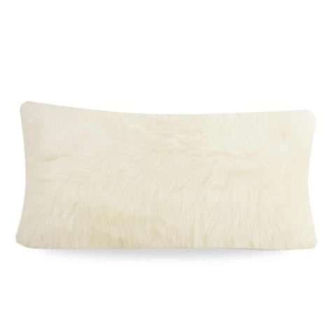 Limited Edition Long Wool Sheepskin Cushion Small Square - Silver/Grey