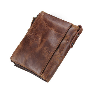 Crazy Horse Cowhide Leather Short Coin Purse Small Vintage Wallet