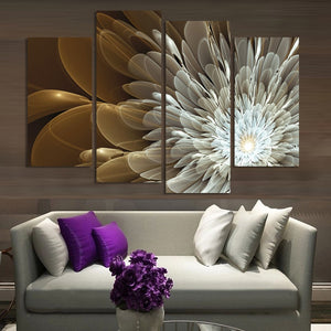Beautiful 4 Pieces Golden Flowers Canvas Painting