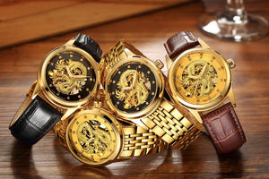 Metal Gold Automatic Business 3D Carving Dragon Skeleton Watch