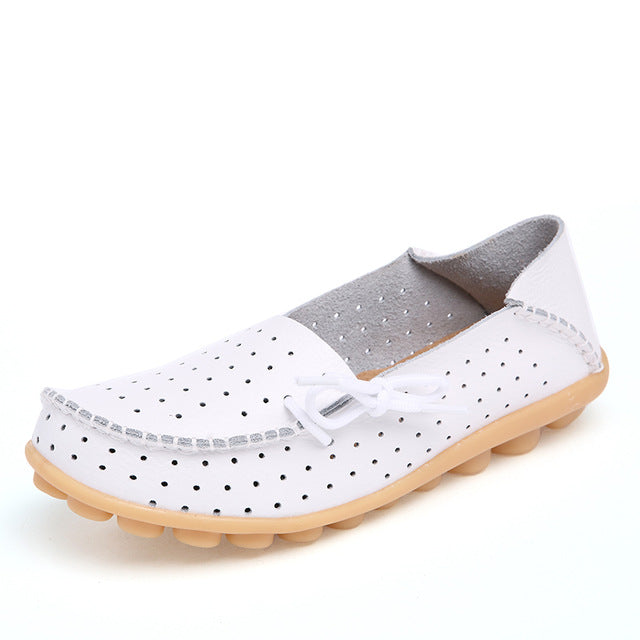 Women Flat Comfortable Soft Genuine Leather Loafers Shoes