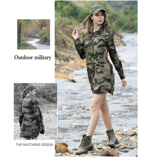 Camouflage Long Section Shirt Women Long Sleeve Clothing Slim Fit Designer Casual Fashion Shirt