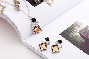 Square Geometry Pandent Necklace Stud Earrings Crystal Magic Space Jewelry Set