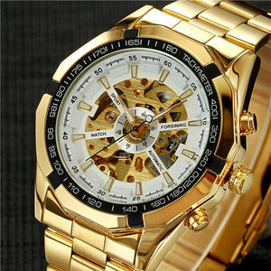 Mechanical Stylish Classic Black/Gold Automatic Skeleton Watch