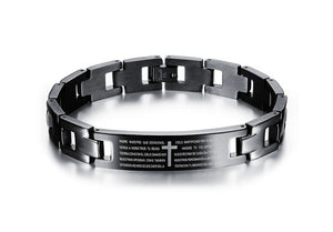 Men Titanium Steel High Grade Thick Adjustable Bracelets Black Cross Bangle