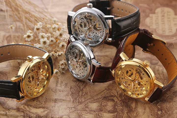 Mechanical Golden Tone Hollow Skeleton Mens/ Lady Watch