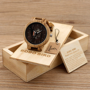 Wood Brown Cowhide Leather Strap Watch Packaged in Wooden Gift Box