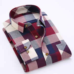 Men's Long Sleeve Contrast Bold Plaid Brushed Shirt