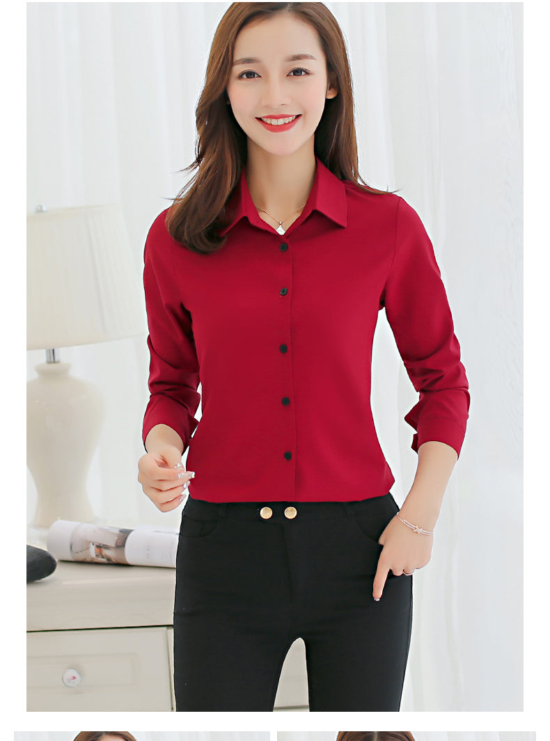Blouse Chiffon Office Career Shirts Long Sleeve Blouses