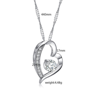 Womens Love Heart Pendant Necklace
