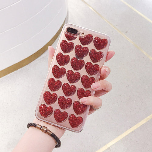 Love Heart Phone Case For iPhone 6 6S 7 7 with Hot Glitter Powder