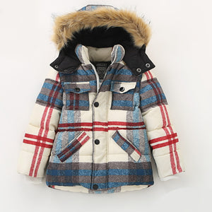Warm Thick Children's Park Plaid Kids Coat