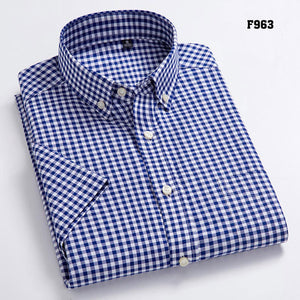 Oxford Leisure Design Plaid 100% Cotton Short Sleeve Dress Shirts