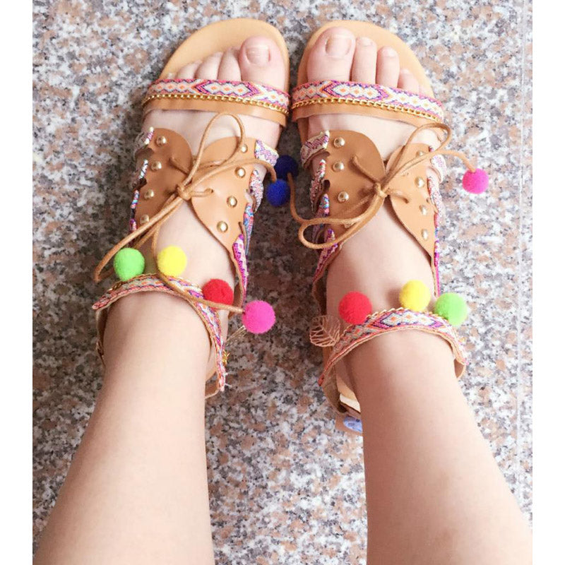 Bohemian Summer Pompon Gladiator Roman Strappy Embroidered Flat Sandals