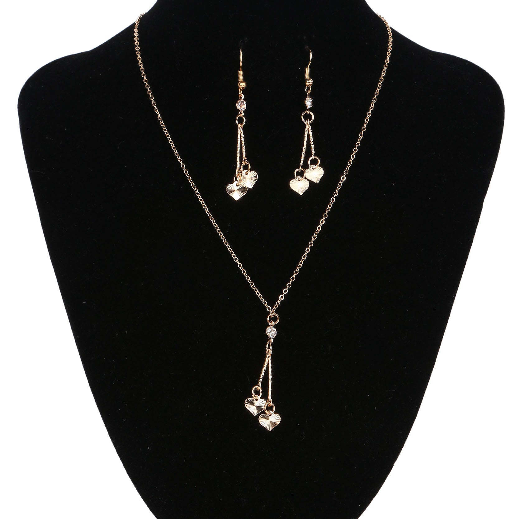 Gold Heart Vintage Jewelry Crystal Love Statement Necklace & Drop Earrings Set
