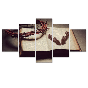 5 Pieces Crown of Thorns and Bible Canvas Painting