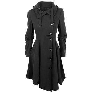 Women Irregular Turn-down Collar Long Wool Blend Single Breasted Overcoat