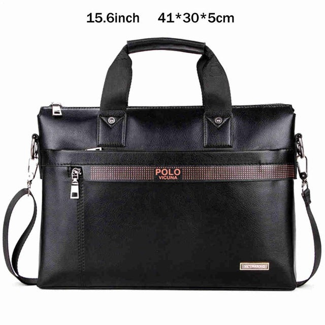 Simple Dot Business Briefcase Bag Leather Laptop Casual Shoulder bags