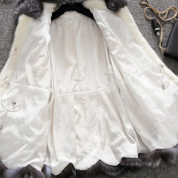 Women Fashion Winter Fur/Synthetic Fur Hooded Jacket Coat