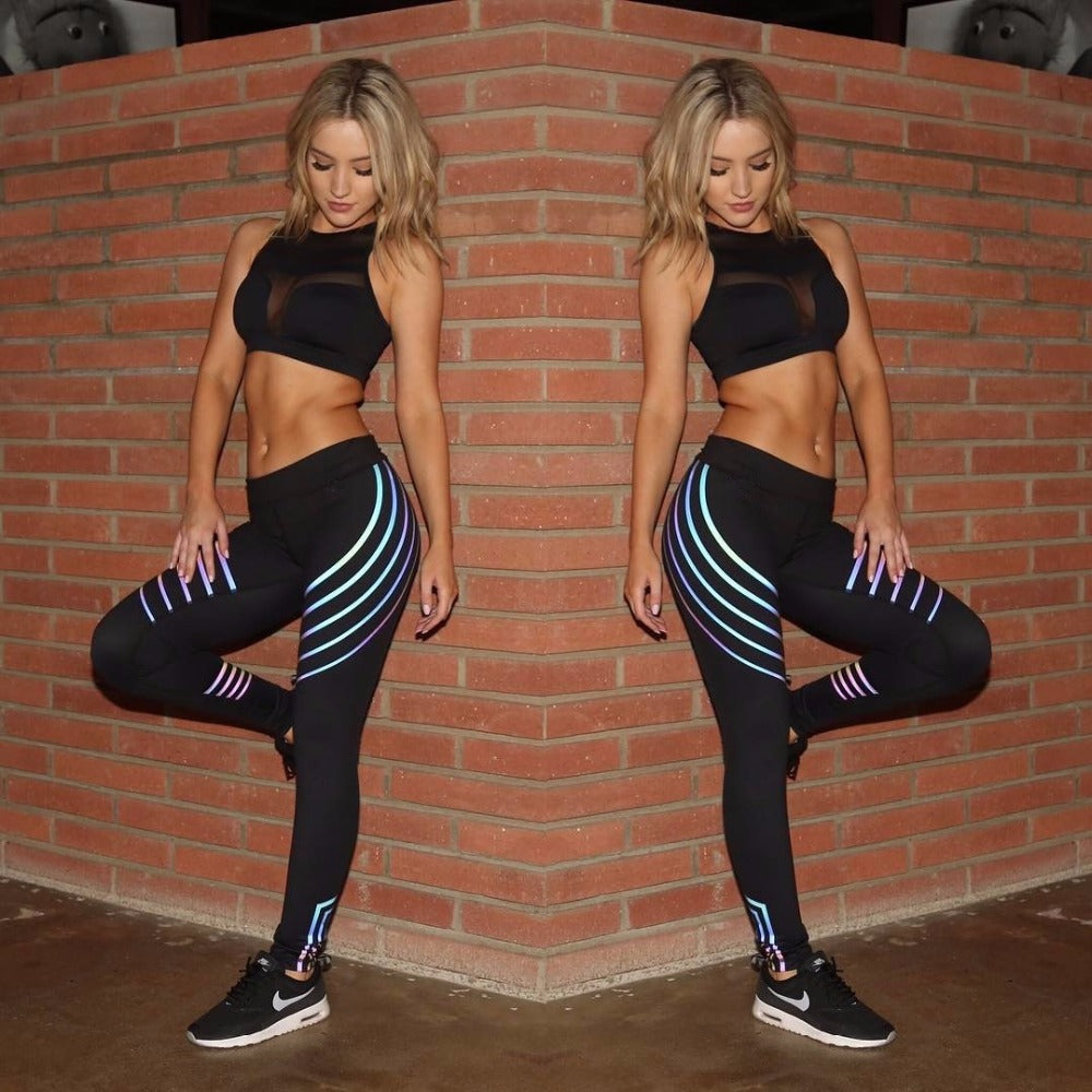 Noctilucent Yoga Leggings Quick Dry Yoga Pants Sport Women Fitness Night Glowing Tights Leggings