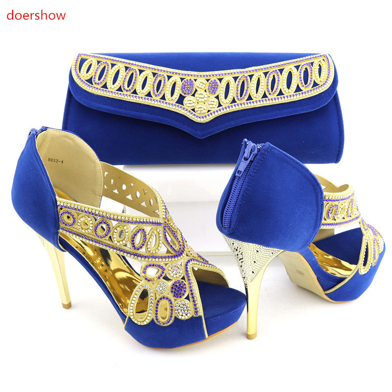 Italian Wedding Shoes and Bag Set With Stones Fashion