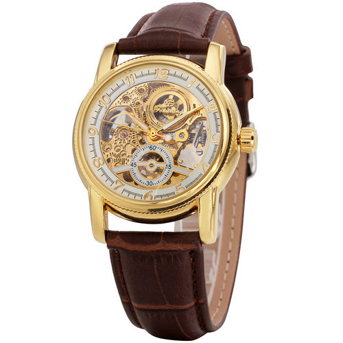 Leather Golden Automatic Mechanical Skeleton Wristwatch