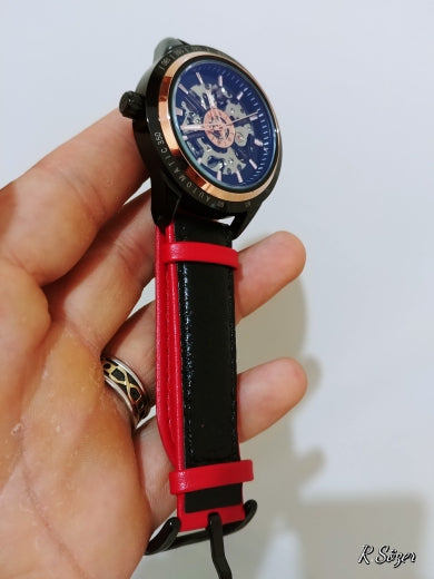 Transparent Red Black Belt Waterproof Skeleton Automatic Watches