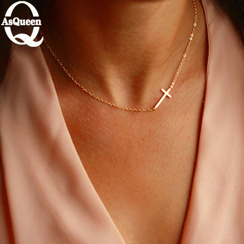 Small Gold Cross Pendant Necklace Pendant Gold Color Jewelry Crucifix Christian Ornaments