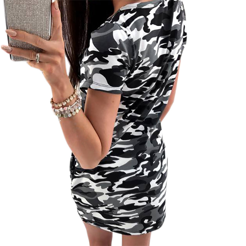 Camouflage Short Sleeve V-neck Bodycon  Sexy Mini Sundress