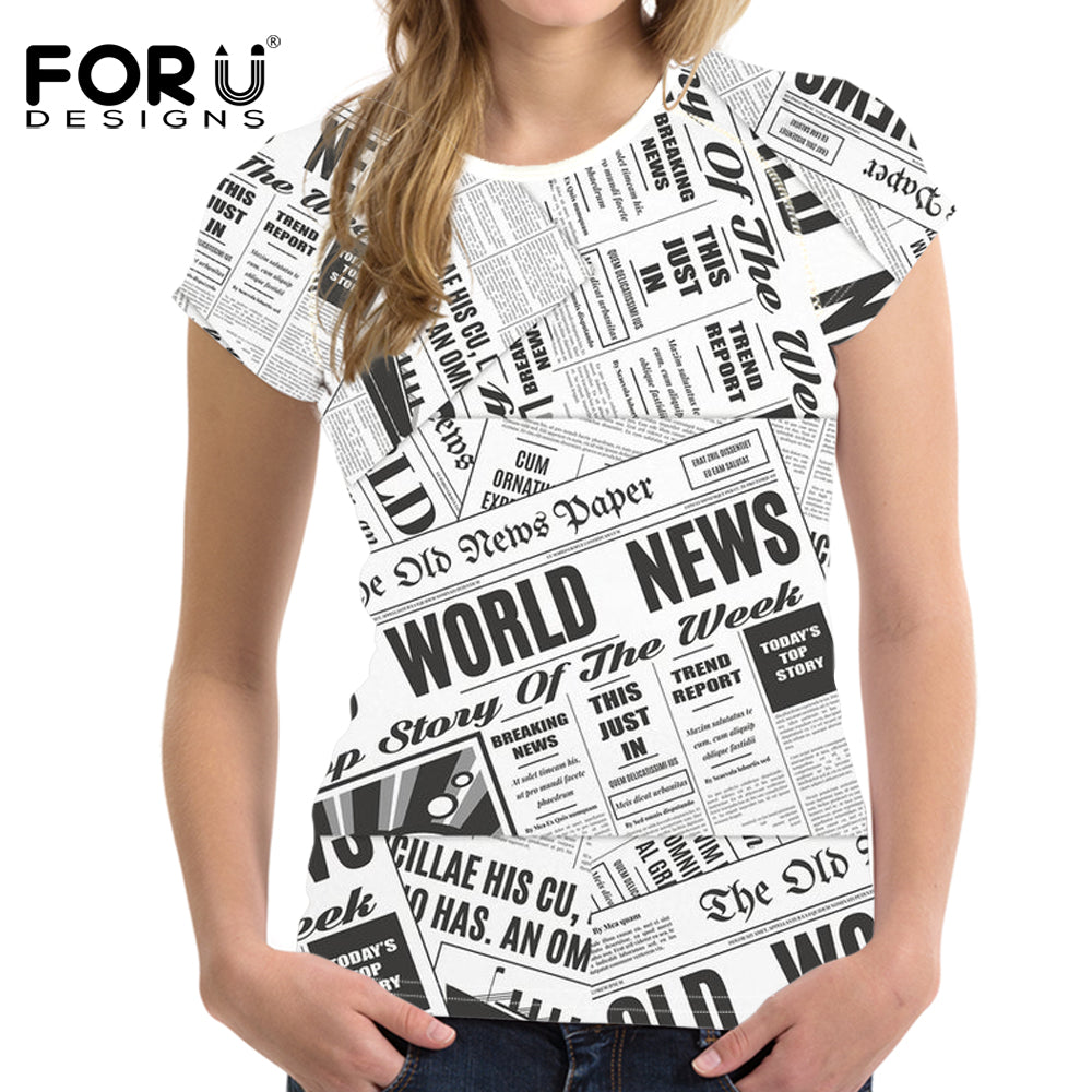 Short Sleeved Newspaper Pattern Creativity Clothing Trend Printed T-shirt