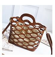 Hollow Out Composite Bag Tote Shoulder Bags Leather Basket Bucket