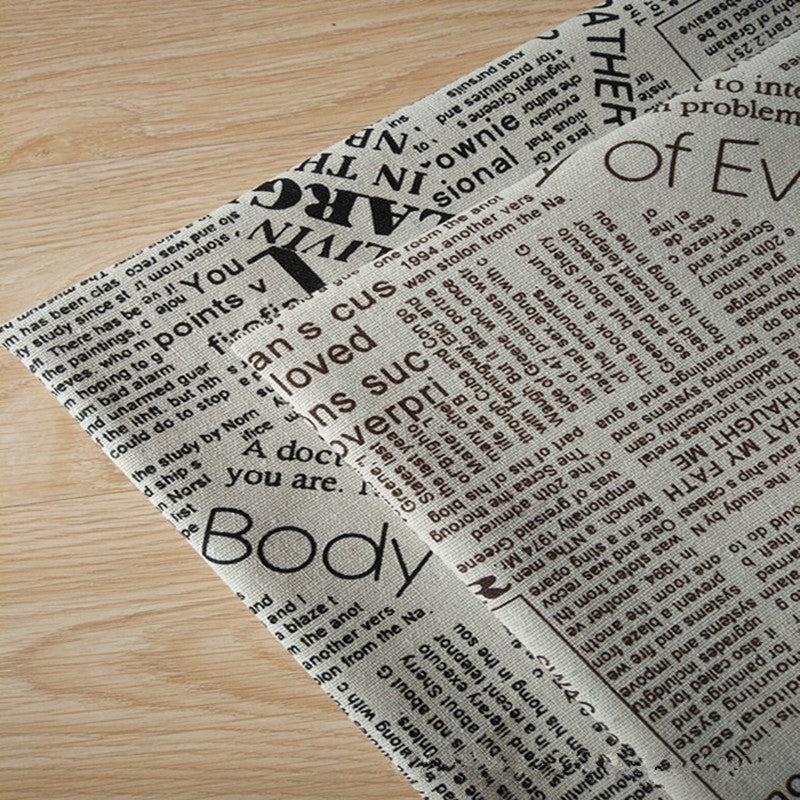 Cotton Linen Fabric Printed English Newspaper 50x150mm