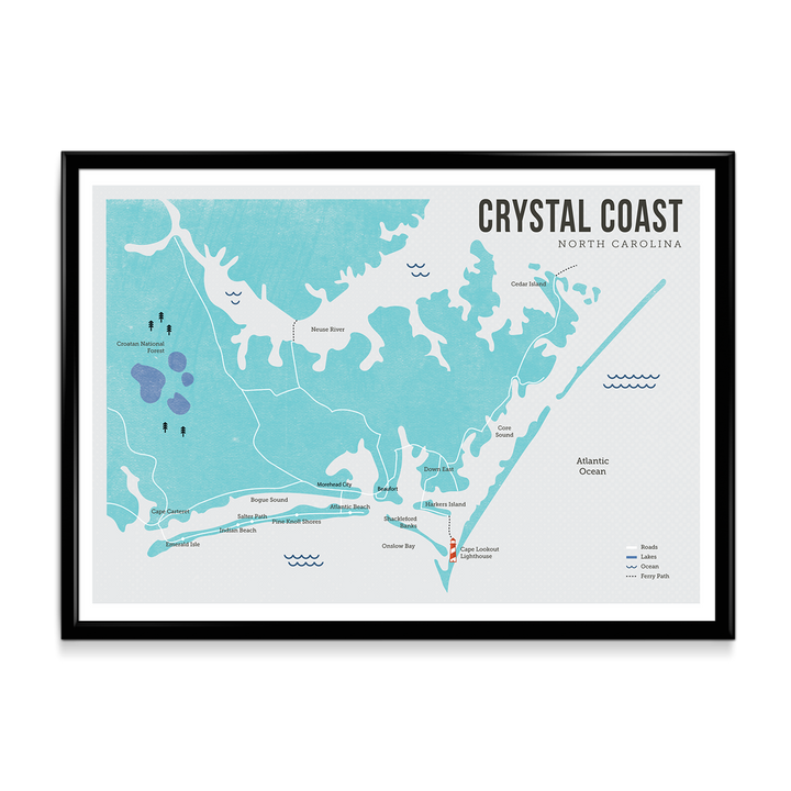 Crystal Coast Map Print