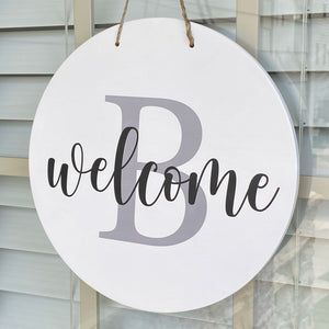 Welcome Sign with Family Initial