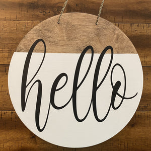 Hello Door Sign 12""