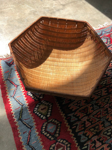 "Vintage Bamboo Basket - 12"" Hexagon"